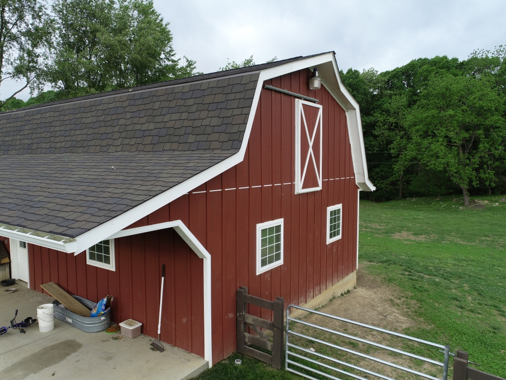 decorative shingles on red barn