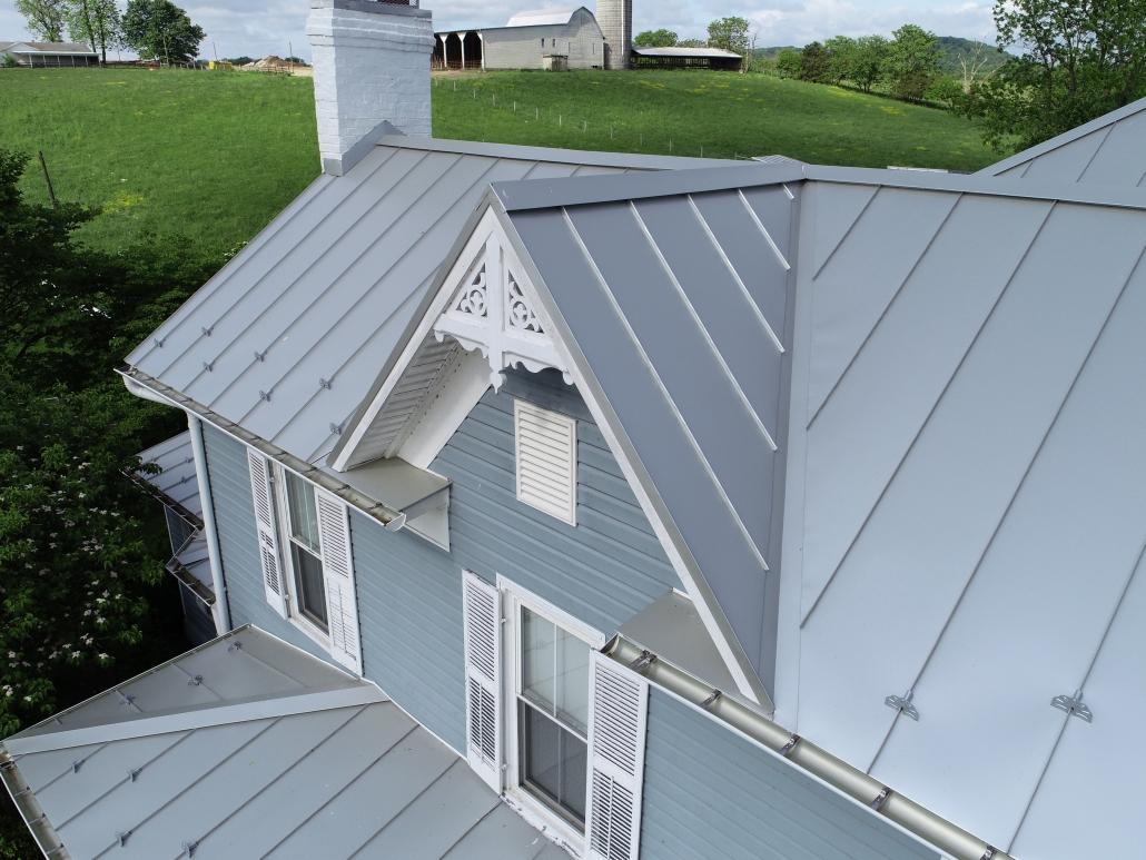 Metal peaked roof