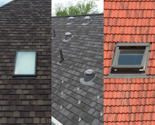 Graphic comparing three types of skylights