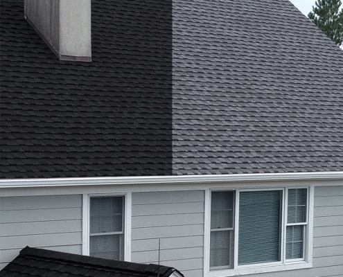 Example of new roof with light shingles and dark shingles