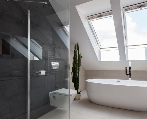 Skylight above bathtub